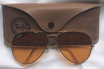 Vintage Ray-Ban Gold Yellow Amber Aviator B&L Sunglasses Lightly Used