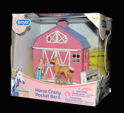 Breyer Horse Crazy Pocket Barn Toy Set Stablemates Collectible Horse Girl & Barn