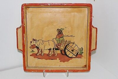"""Vintage 1941 Hand Painted Mexican Themed 9.5"""" Wood Tray-Long Beach California"""
