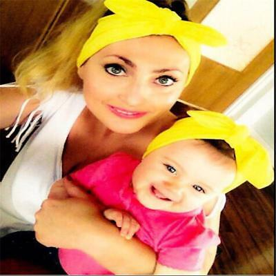 2PCS Mother & Child Headband Women Baby Kids Girls Bow Hair Band Accessories FW