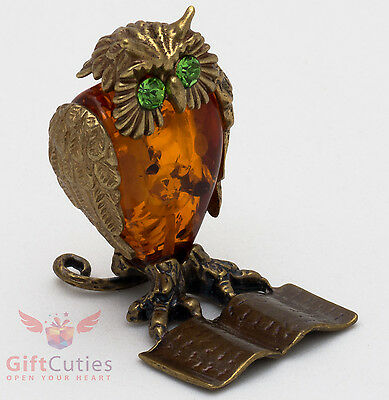 Solid Brass Amber Figurine of bird Academic Owl on a book w Abacus IronWork