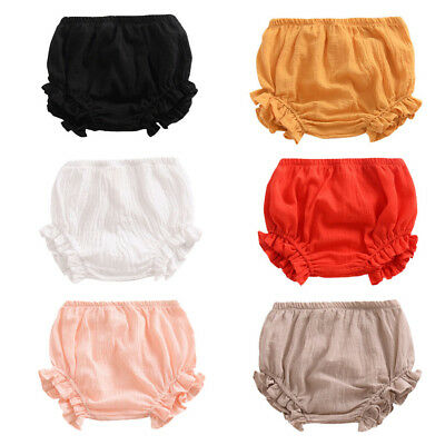 AU Baby Infant Girls Ruffles PP Pants Bloomers Soft Diaper Nappy Cover Shorts