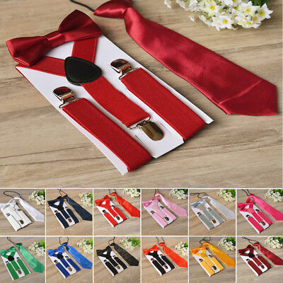 Suspenders And Bow Tie Matching Braces Set For Boys Kids Tuxedo Classic Wedding