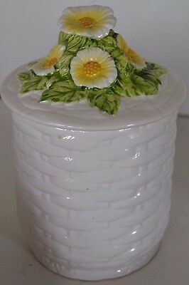 Vintage Lefton China Rustic Daisy Flower Small Canister