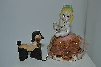 Vintage Porcelain Pink Girl with Poodle Dog