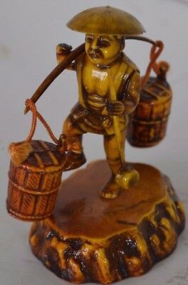 Vintage Chinese Figure Japan Man Carrying Water Asian Oriental