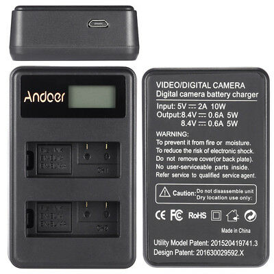 Andoer EN-EL14 EN-EL14A Rechargeable Li-ion Battery Charger Pack LED B2J4