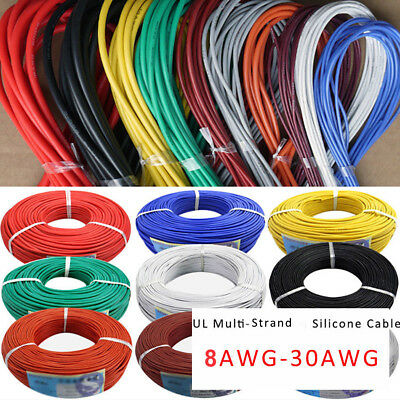 8/14/16/18/20/22/24/26/28/30AWG UL Strand Wire Silicone Flexible Cables Coloured
