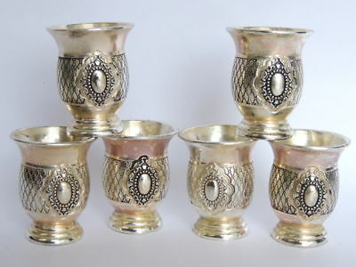 Set of 6 Vintage Antique Israel Jewish Vodka Shot Cups Silver Plated Cup