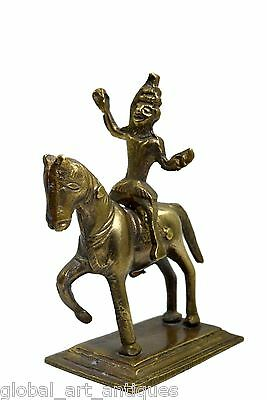 Rare Vintage Indian hand crafted brass warrior horse ridding figure. G7-645 US