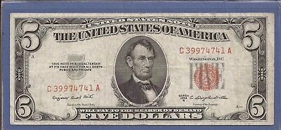 1953 B $5 United States Note (USN),Red Seal Note,circulated Very Fine,Nice!