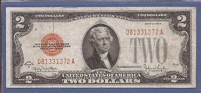 1928 G $2 United States Note (USN),D/A Block,Large Red Seal,circulated VF,Nice!