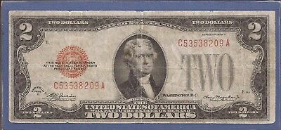 1928 D $2 United States Note (USN),Large Red Seal,circulated Fine,Nice!
