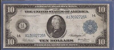 1914 $10 FRN,1-A Boston,FR 905,Large Blue Seal Note,circulated VF,Nice!
