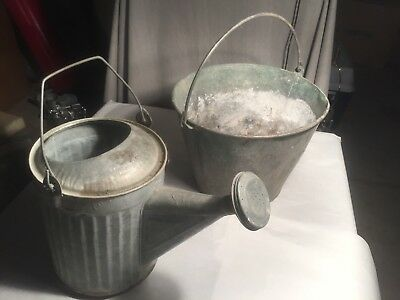 Vintage Collectible Galvanized Pail And Spouted Waterer.