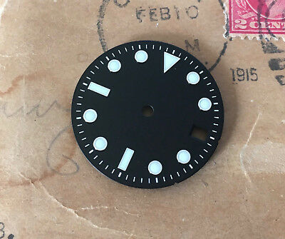 Plain Submariner Sub Watch Dial for Seiko 7S26 NH35 movement White Lume