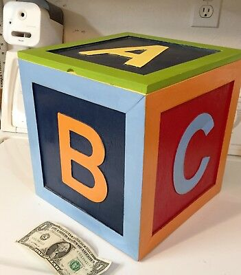 """Unique Hand Made & Painted Large 10"""" Cube Alphabet Block Toy Box With Hinged Lid"""