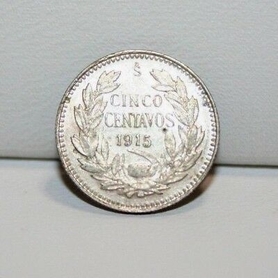 1915 S Chile 5 Cinco Centavos Silver Coin