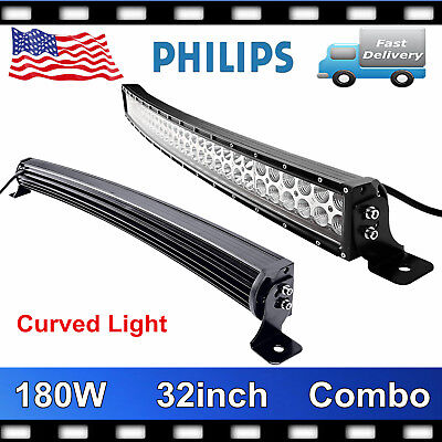 "Philips 32"" 180W Curved LED Light Bar Combo Driving OffRoad Truck 4WD Slim PK 34"