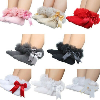 Newborn Baby Girls Frilly Tutu Lace Bow Socks Toddler Princess Ruffle Ankle Sock