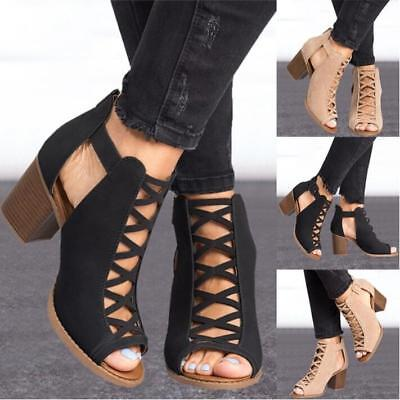 2018 Womens Hollow Cut Out Peep Toe Mid Heel Sandals Zipper Casual Dress Shoes