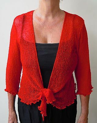 1A134  LADIES SHRUG BOLERO CARDIGAN 3/4 SLEEVE size 8 10 12 14 16  RED FREE POST