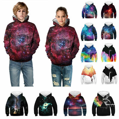 a32eee6444a8 CHRISTMAS KIDS BOYS GIRLS Galaxy Hoodie Sweatshirt Pullover Jumper ...