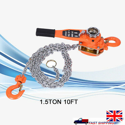 Heavy Duty Garage 1.5 Ton 3m Height Lever Chain Hoist Load Lifting Puller Pulley