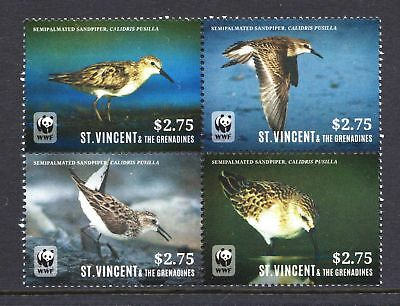 St Vincent  2014 WWF - Sandpiper Bird - MNH Block of 4 - Cat £16 - (251)