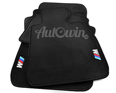 BMW 5 Series E39 Black Floor Mats with M Logo with Clips RHD UK NEW