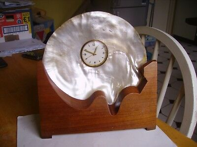 Vintage  unusual quirky mother of pearl shell with alarm clock and stand.