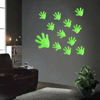 12Pcs Luminous Palm Hand Wall Sticker Glow In Dark Removable Room Decor Bling