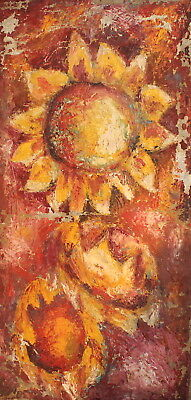 Antique abstract floral oil painting still life