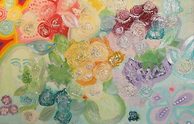 Vintage abstract floral oil painting signed
