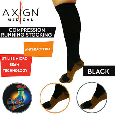 AXIGN Medical Compression Stockings Socks Travel Flight Circulation High - Black