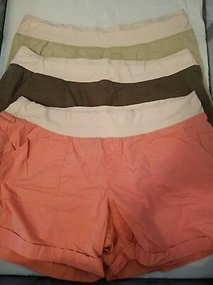 A.n.a. Womens Sz 2X Maternity Shorts Cotton Utility Cargo Slip On Lot Of 3 WP2.6