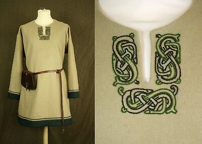 viking reeneacment wool tunic with embroidery