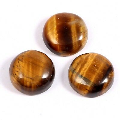 100%Natural Tiger's Eye Round Cabochon Gemstone yellow shine 18.80 cts