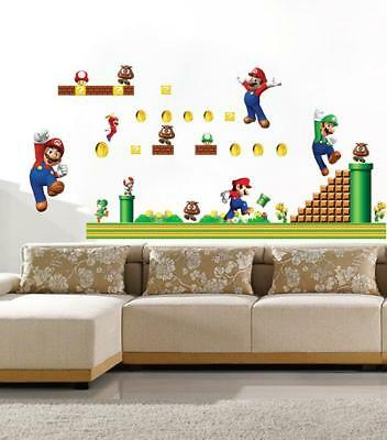3D Super Mario Bros Removable HUGE Wall Stickers Decal Kids Home Decor New