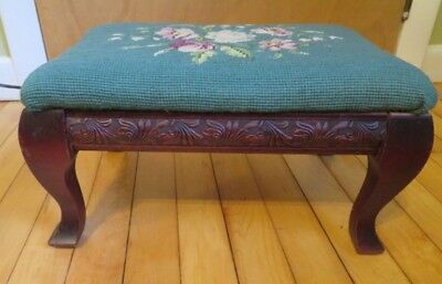Antique Embroidered WOOD OTTOMAN Foot Stool Victorian Decor - VG+