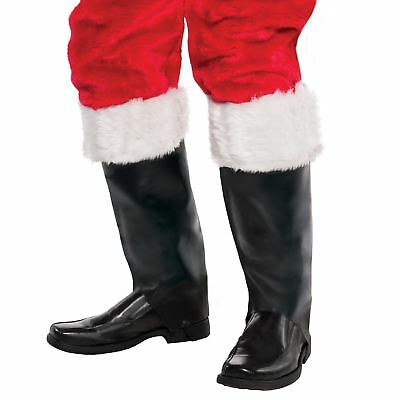 Adults Boot Top Covers Father Christmas White Trim Furry Santa Xmas Festive Shoe
