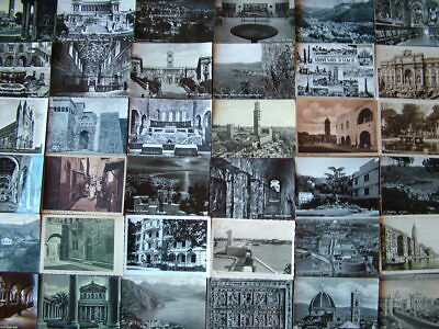 100 BLACK & WHITE Postcards of/from ITALY. 1950's onwards. Used & Unused.