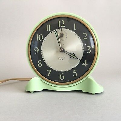 Smiths Sectric Green Bakelite Art Deco Alarm Clock Working