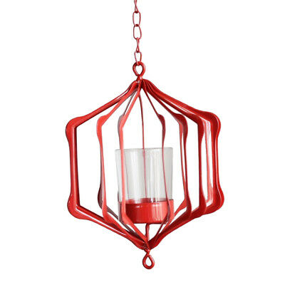Iron Ceiling Chandelier 3D Geometric Candle Holder Hanging Candlestick F-Red