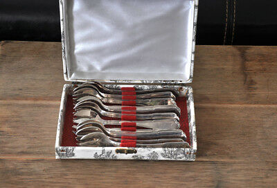 Antique French Silver Plate 12 Oyster Forks