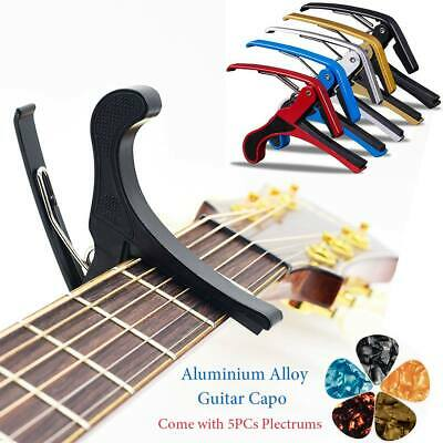Capo Quick Change Trigger Clamp Clip for Guitar Banjo Ukulele Bass with 5 Picks