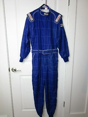 G-Force One-Piece Racing Fire Retardant Suit Coveralls Adult Small Blue Full Zip