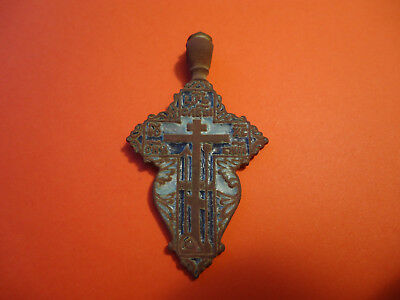 Antique Byzantine Bronze Russian Orthodox Cross Pendant