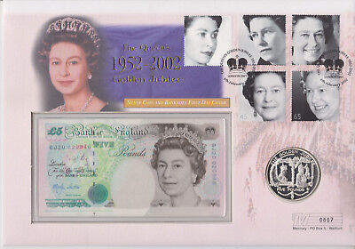 Gb Qeii Pnc Guernsey Silver Coin Cover 2002 Golden Jubilee £5 Note B/Unc (Gj2)