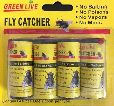 4 Rolls Sticky Fly Trap Glue Paper Insect Bug Catcher Strip Flies Sticker